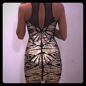 BEBE Black and gold sequin party dress